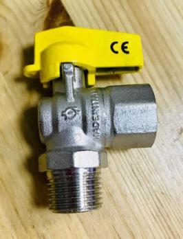 Кран шаровый газовый F.I.V 1/2-1/2 HB бабочка (угловой)
