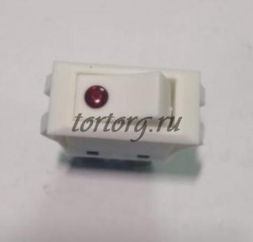 Кнопка 16A/250V с подсветкой белая