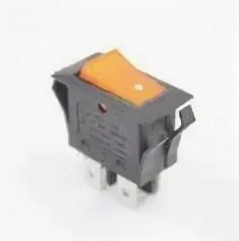 Кнопка 16A/250V с подсветкой черная, оранжевый колпачок