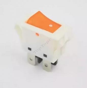 Кнопка 16A/250V с подсветкой белая, оранжевый колпачок