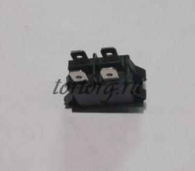 Кнопка 16A/250V с подсветкой черная, синий колпачок