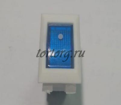 Кнопка 16A/250V с подсветкой белая, синий колпачок