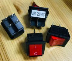 Выключатель клавишный 250В, 20А, (4с) ON-OFF, красный с подсветкой